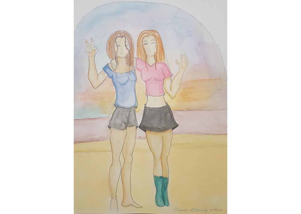 Pastel et aquarelle